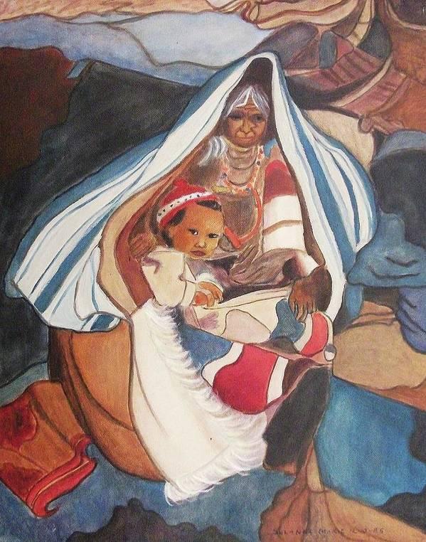 Tibetan Grandmother Poster featuring the painting Tibetan Grandmother And Baby by Suzanne Marie Leclair