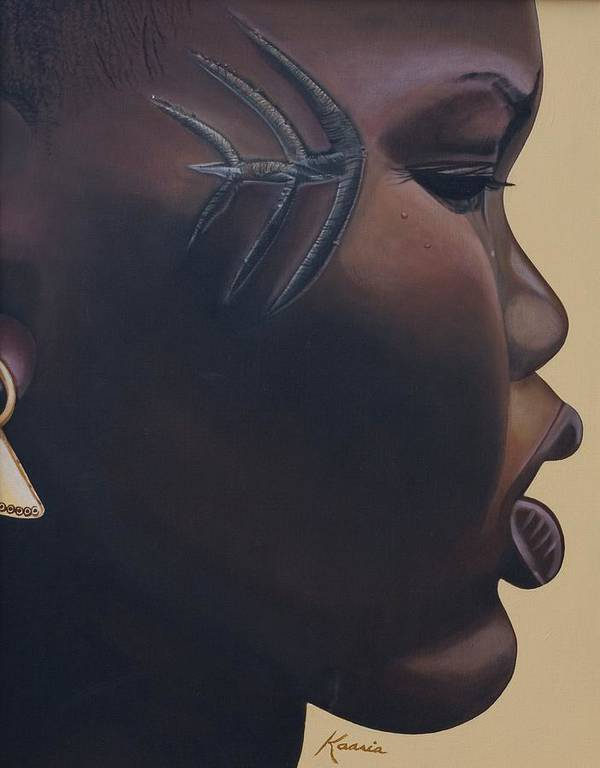 Tribal Mark Poster featuring the painting Tribal Mark by Kaaria Mucherera
