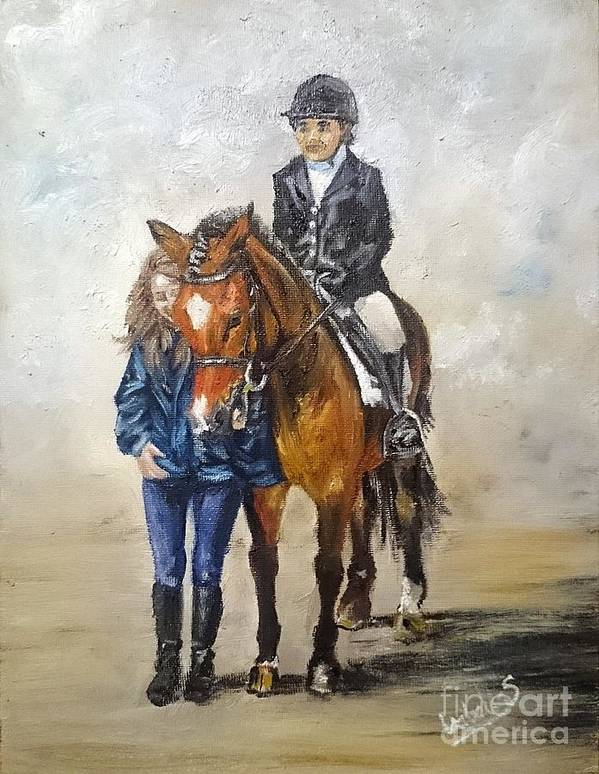 Equestrian Poster featuring the painting Waiting For Dressage by Abbie Shores