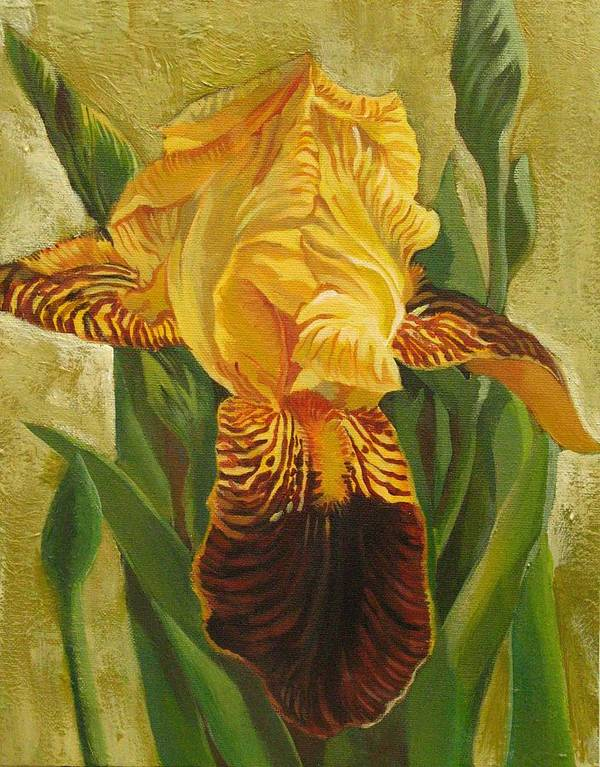 Iris Poster featuring the painting Yellow Iris by Alfred Ng