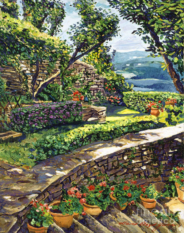 Impressionist Poster featuring the painting Garden Stairway by David Lloyd Glover