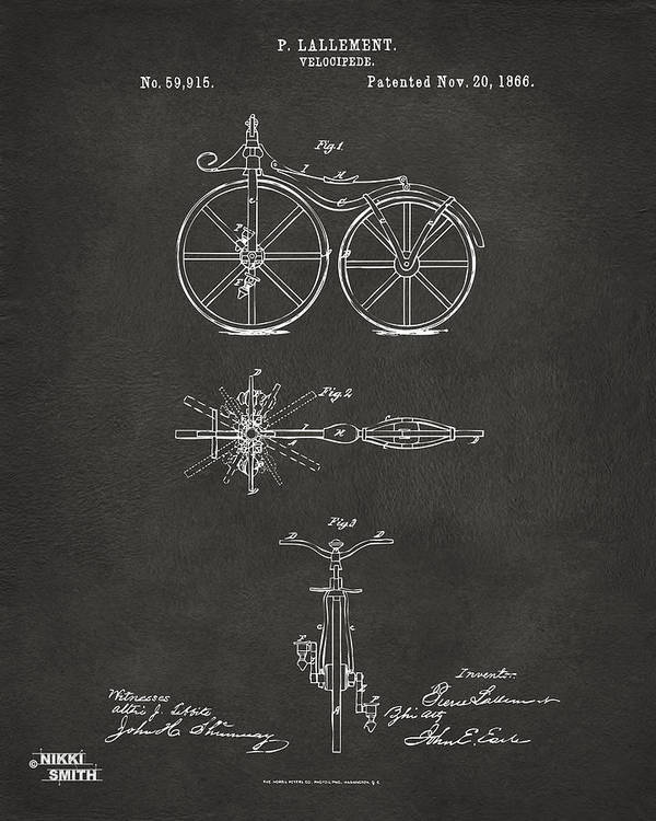 Bicycle Poster featuring the drawing 1866 Velocipede Bicycle Patent Artwork - Gray by Nikki Marie Smith
