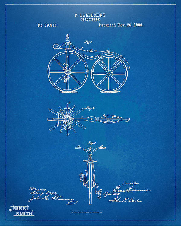 Bicycle Poster featuring the drawing 1866 Velocipede Bicycle Patent Blueprint by Nikki Marie Smith