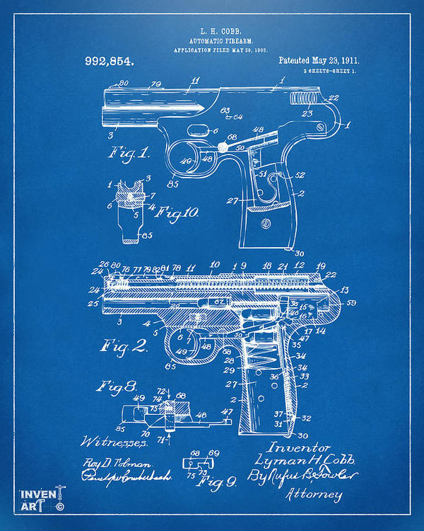 Police Gun Poster featuring the drawing 1911 Automatic Firearm Patent Artwork - Blueprint by Nikki Marie Smith