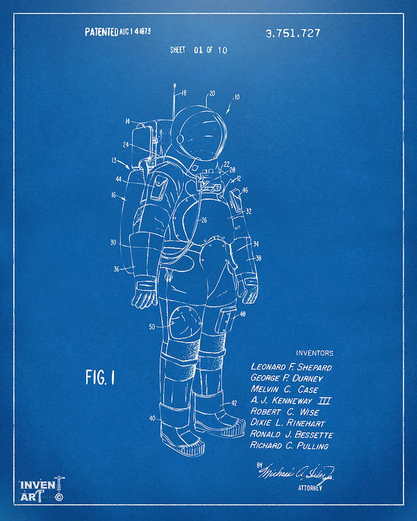 Space Suit Poster featuring the drawing 1973 Space Suit Patent Inventors Artwork - Blueprint by Nikki Marie Smith