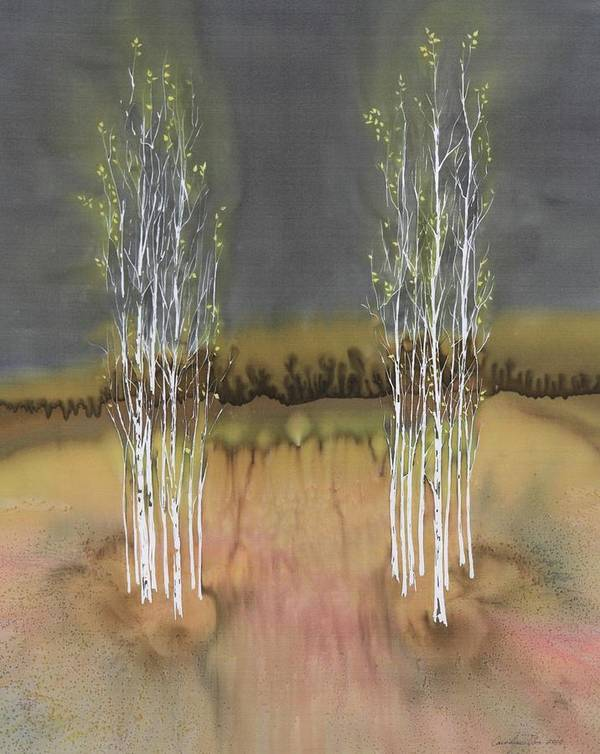 Birch Poster featuring the tapestry - textile 2 Birch Groves by Carolyn Doe