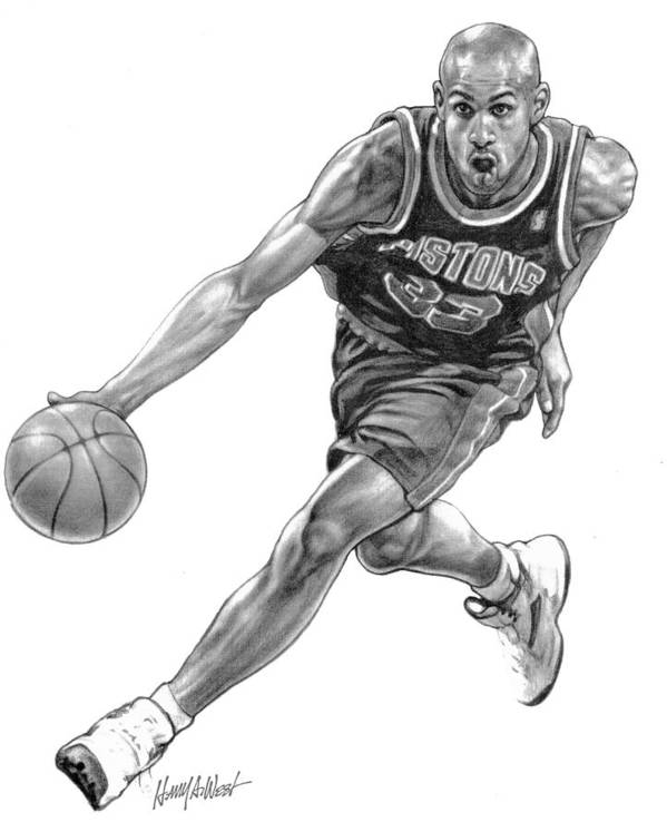Grant Hill Poster featuring the drawing Grant Hill by Harry West