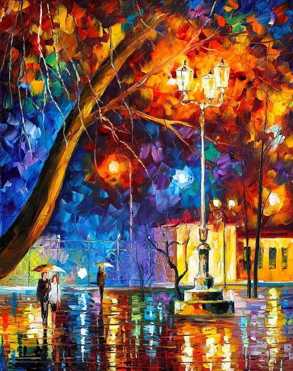 Afremov Poster featuring the painting Winter Rain by Leonid Afremov