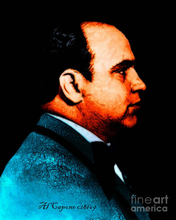 Al Capone Poster featuring the photograph Al Capone C28169 - Black - Painterly - Text by Wingsdomain Art and Photography