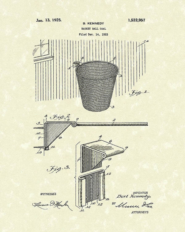 Kennedy Poster featuring the drawing Basketball Hoop 1925 Patent Art by Prior Art Design
