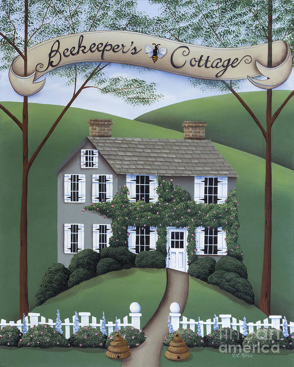 Art Poster featuring the painting Beekeeper's Cottage by Catherine Holman