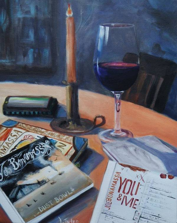 Joe Bonamassa Poster featuring the painting Blues And Wine by Donna Tuten