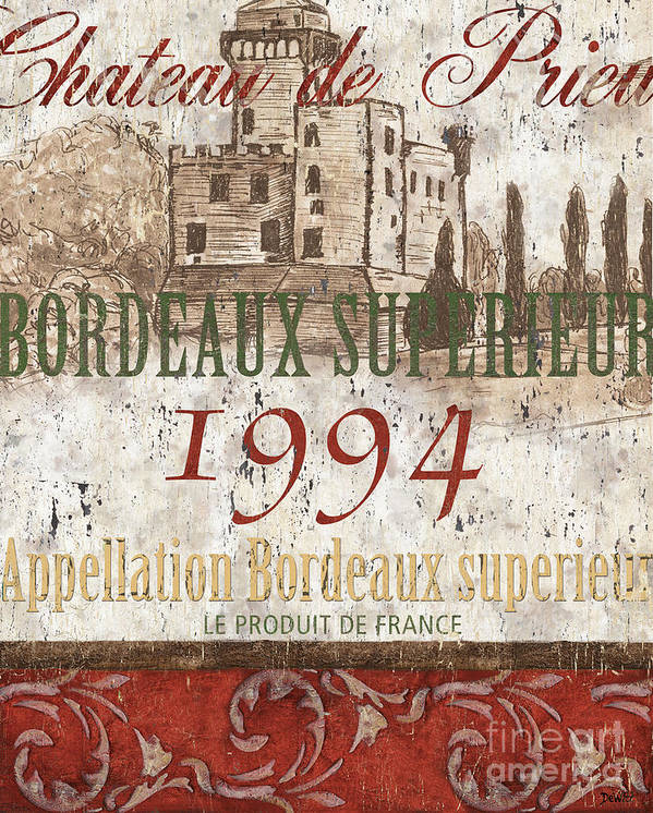 Wine Poster featuring the painting Bordeaux Blanc Label 2 by Debbie DeWitt