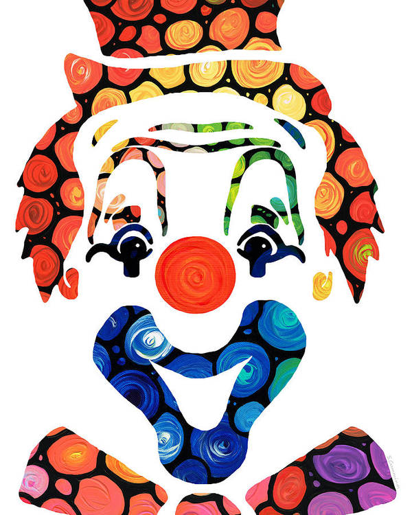 Clown Poster featuring the painting Clownin Around - Funny Circus Clown Art by Sharon Cummings