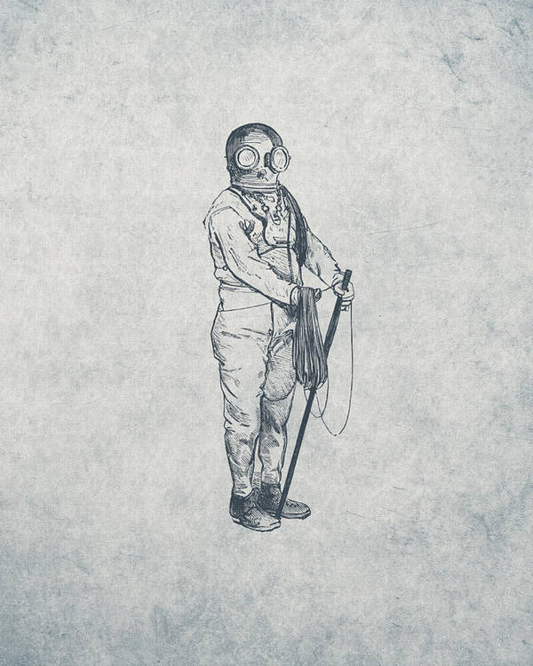Nautical Poster featuring the drawing Deep Sea Diver - Nautical Design by World Art Prints And Designs