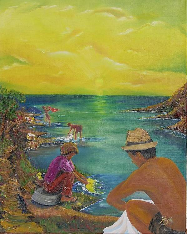 River Poster featuring the painting Down By The River by Barbara Hayes