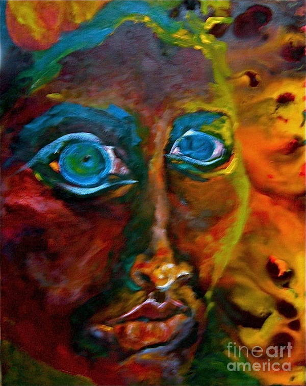 Face Poster featuring the painting Face 6 by Michelle Dommer