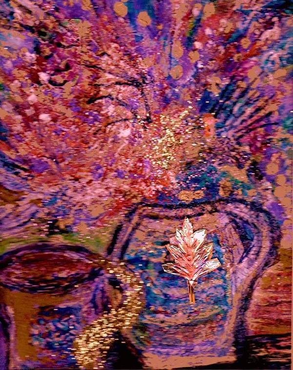 Floral Poster featuring the painting Floral With Gold Leaf On Vase by Anne-Elizabeth Whiteway