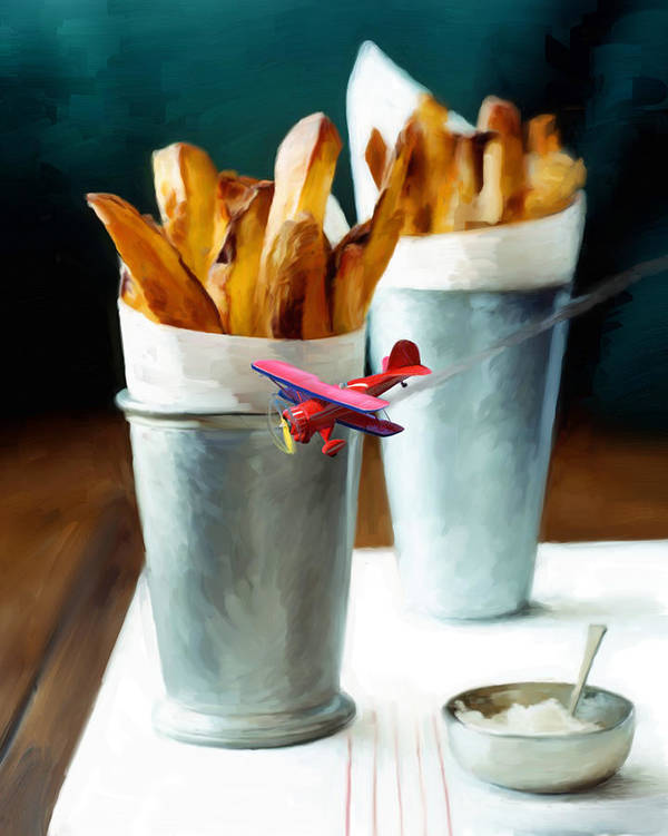 French Fries Poster featuring the painting French Fries Fly-by by Snake Jagger