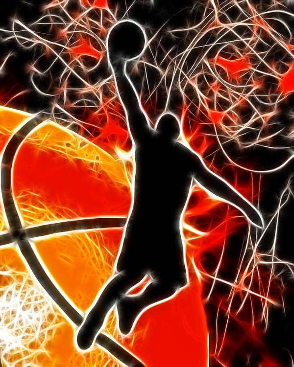 Basketball Poster featuring the digital art Galactic Dunk by David G Paul