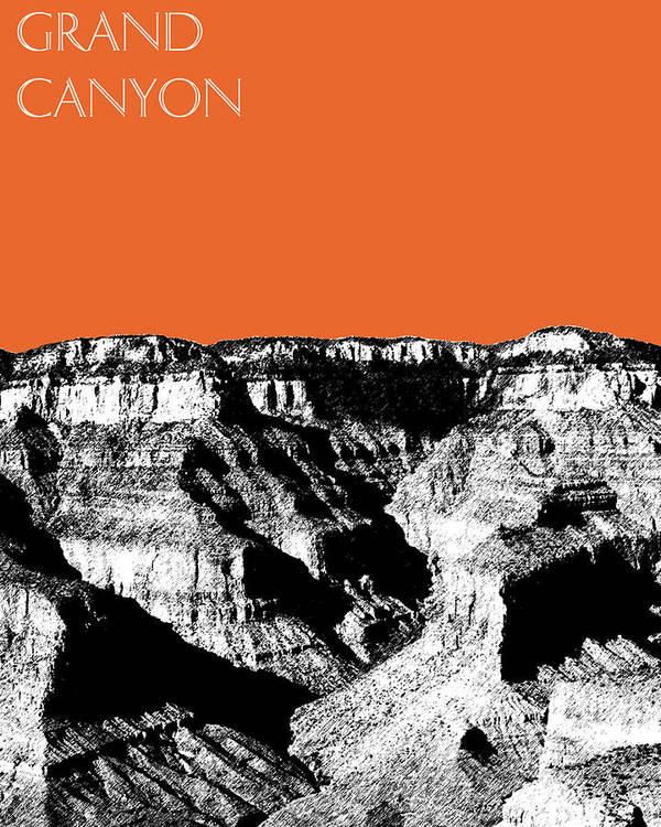 Pen And Ink Poster featuring the digital art Grand Canyon - Coral by DB Artist
