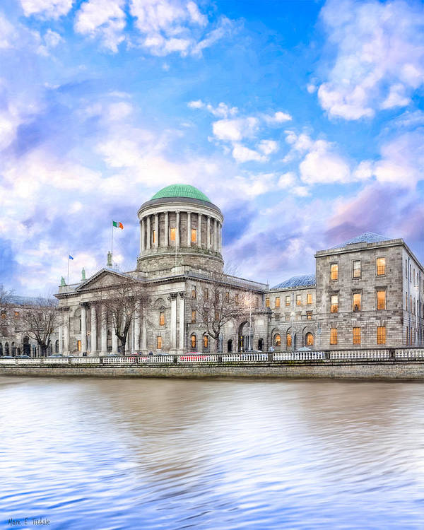 Dublin Poster featuring the photograph Historic Four Courts In Dublin Ireland by Mark E Tisdale
