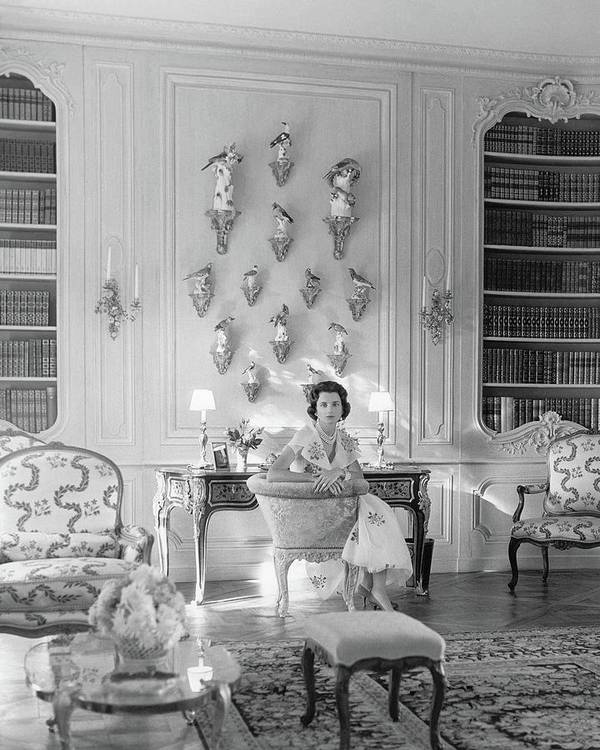 Society Poster featuring the photograph Jayne Wrightsman In Her Library In Palm Beach by Horst P. Horst