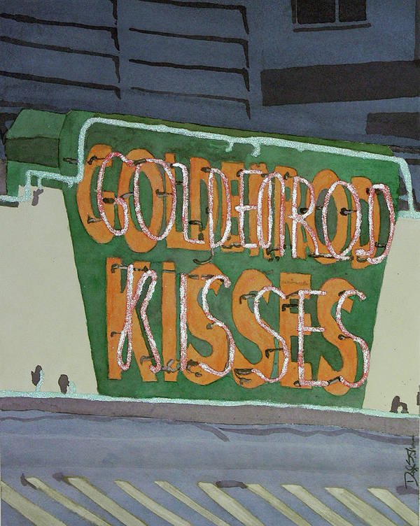 York Beach Poster featuring the painting Kisses Neon Sign by Daryl Shaw