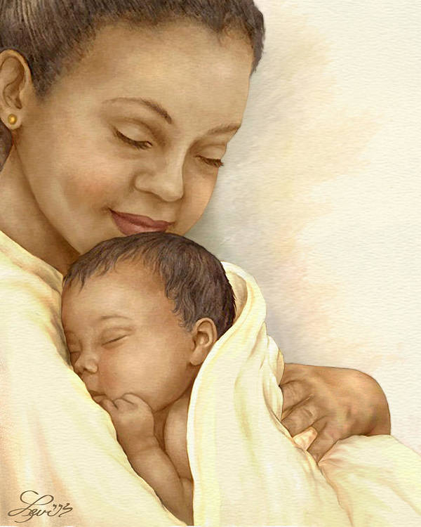 African American Poster featuring the painting Mother by Beverly Levi-Parker