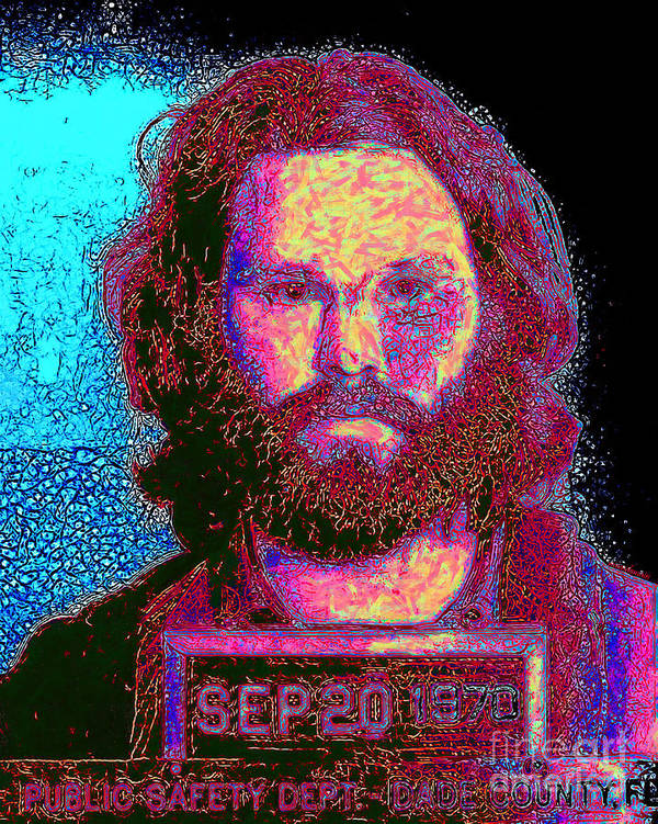 Jim Morrison Poster featuring the photograph Mugshot Jim Morrison 20130329 by Wingsdomain Art and Photography