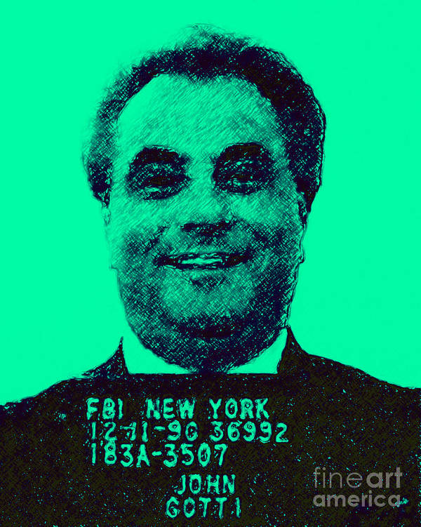 Celebrity Poster featuring the photograph Mugshot John Gotti P128 by Wingsdomain Art and Photography
