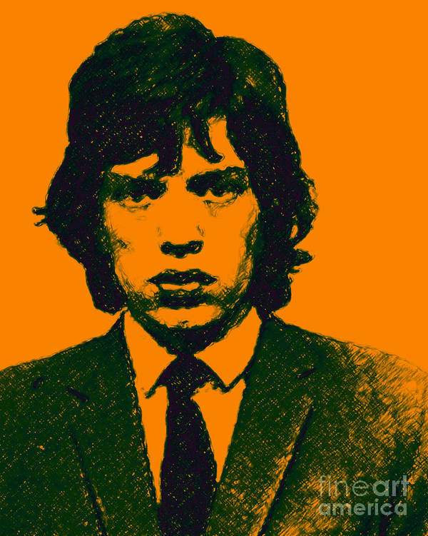Mick Jaggar Poster featuring the photograph Mugshot Mick Jagger P0 by Wingsdomain Art and Photography