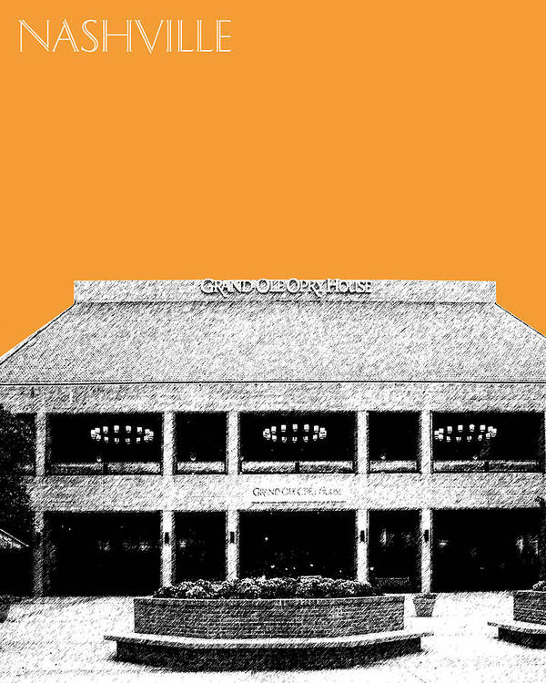 Architecture Poster featuring the digital art Nashville Skyline Grand Ole Opry - Orange by DB Artist