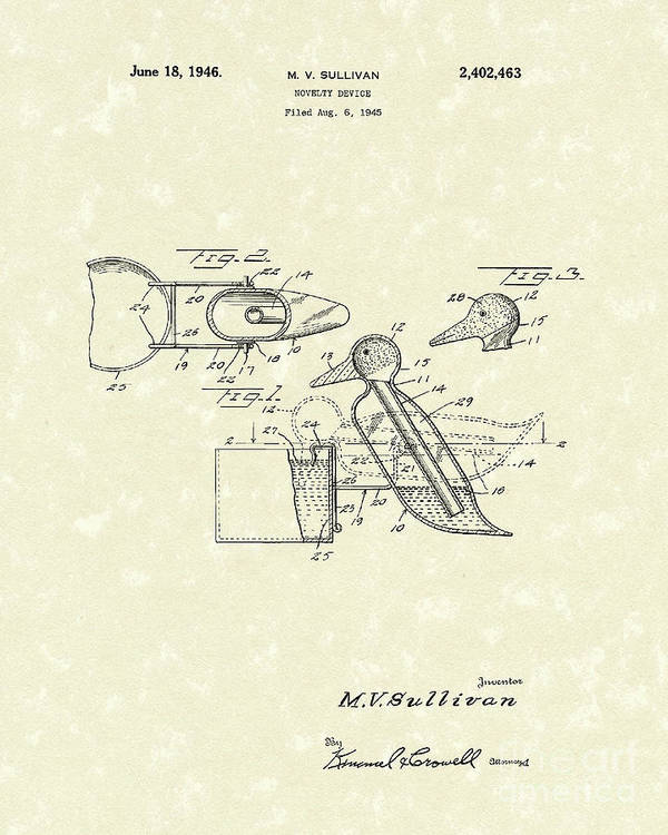 Sullivan Poster featuring the drawing Novelty Duck 1946 Patent Art by Prior Art Design