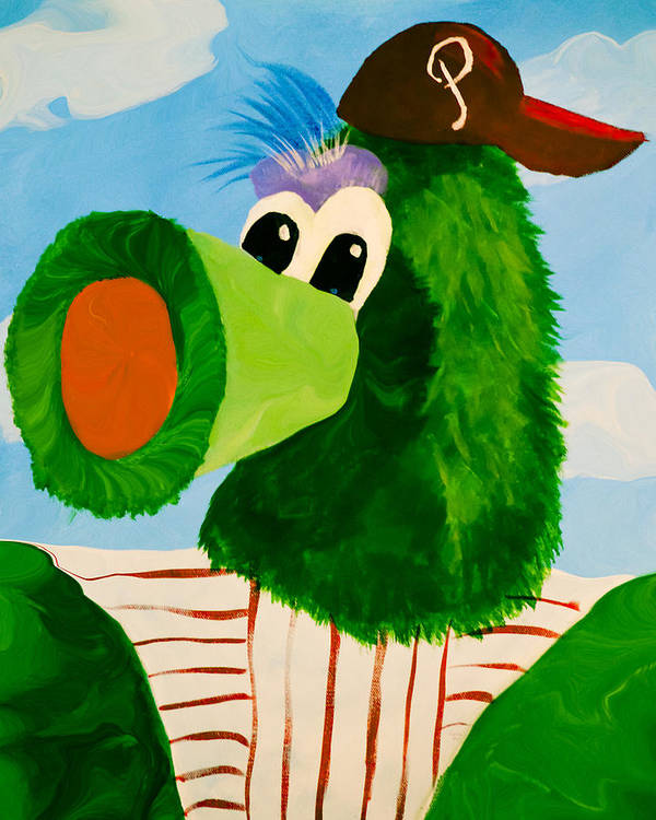 Phillies Poster featuring the mixed media Philly Phanatic by Trish Tritz
