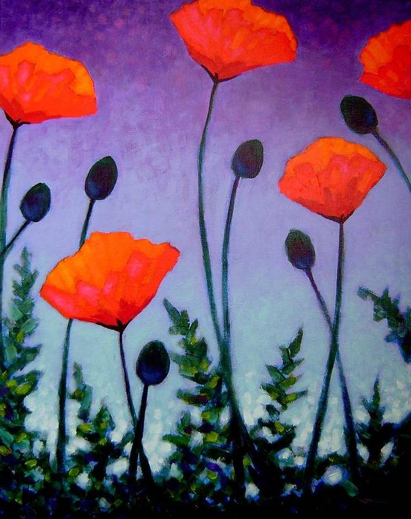 Acrylic Poster featuring the painting Poppies In The Sky II by John Nolan