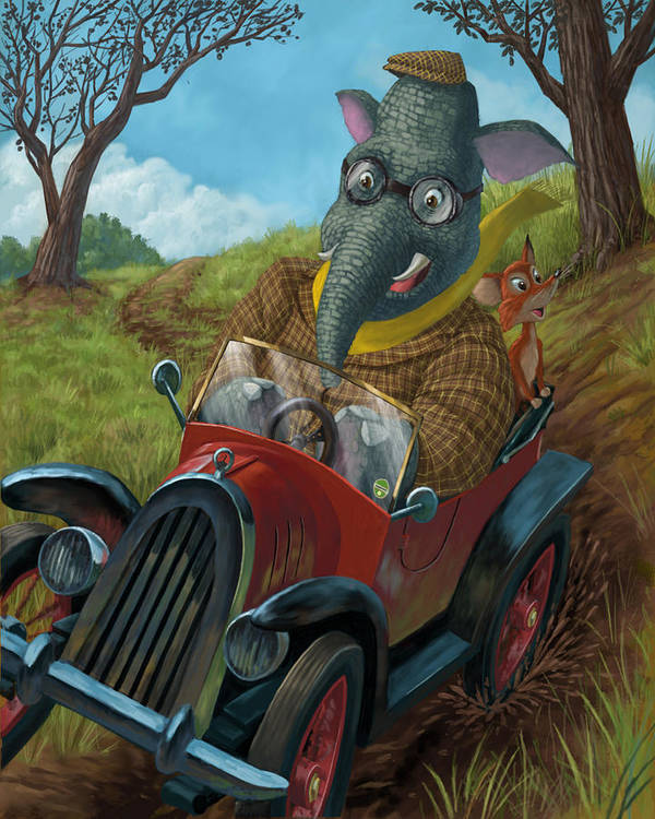 Animals Poster featuring the painting Racing Car Animals by Martin Davey