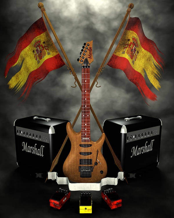 Rock N Roll Poster featuring the digital art Rock N Roll Crest- Spain by Frederico Borges