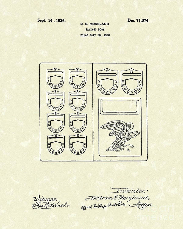 Mooreland Poster featuring the drawing Savings Book 1926 Patent Art by Prior Art Design