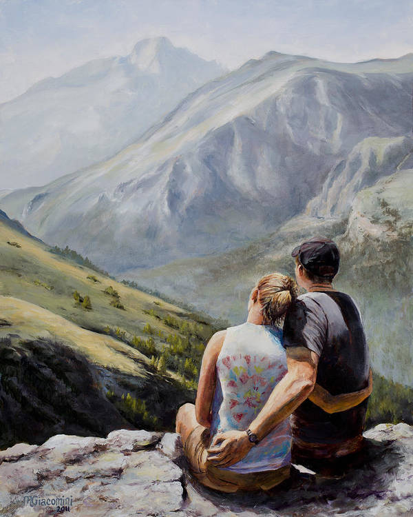 Longs Peak Poster featuring the painting Soul Mates by Mary Giacomini