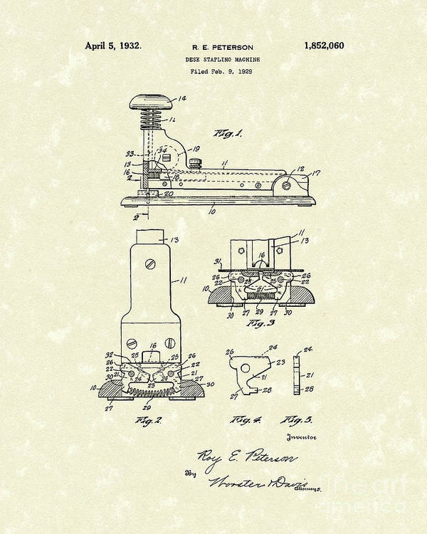 Peterson Poster featuring the drawing Stapler 1932 Patent Art by Prior Art Design