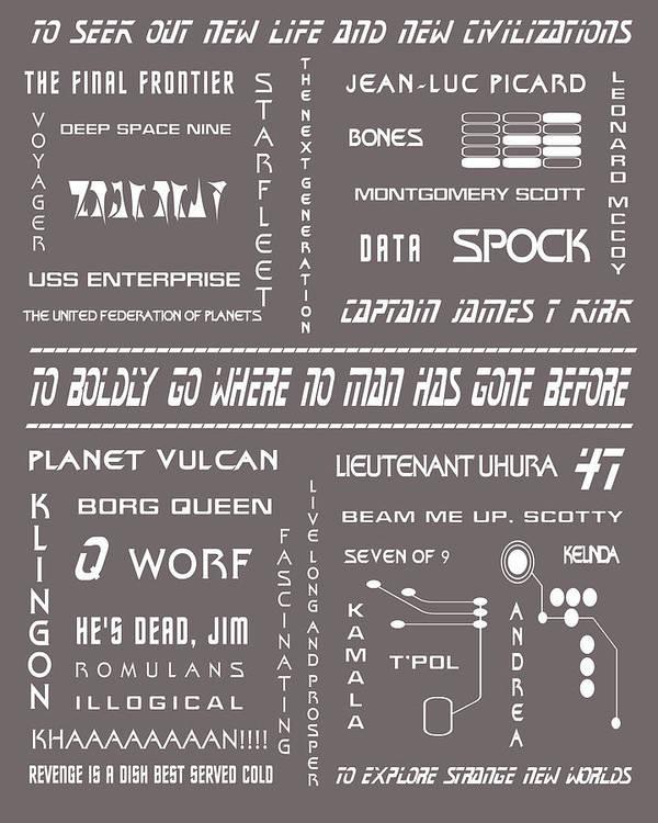 Star Trek Poster featuring the digital art Star Trek Remembered In Grey by Georgia Fowler