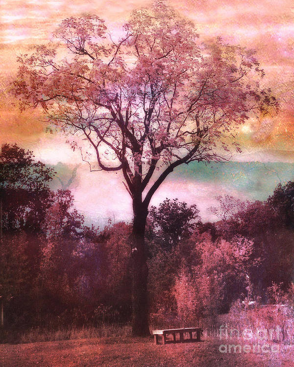 Surreal Nature Photos Poster featuring the photograph Surreal Fantasy Nature Tree Pink Landscape by Kathy Fornal
