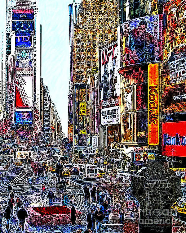 Time Square Poster featuring the photograph Time Square New York 20130503v7 by Wingsdomain Art and Photography