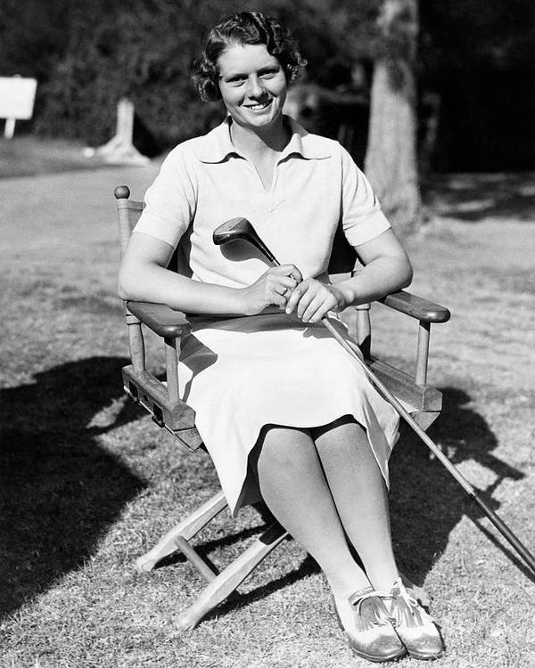 Entertainment Poster featuring the photograph Virginia Van Wie Holding A Golf Club by Acme