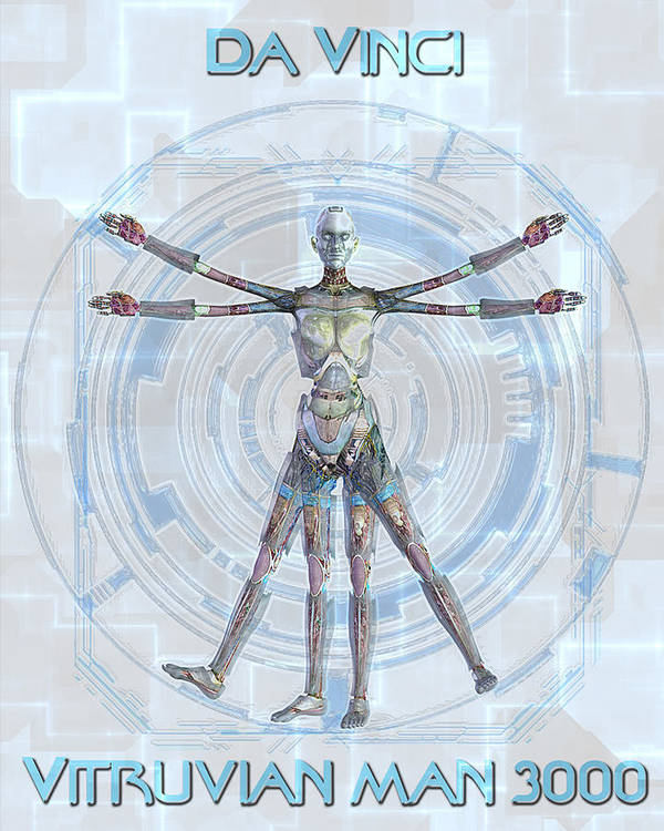 Robot Poster featuring the digital art Vitruvian Man 3000 by Frederico Borges