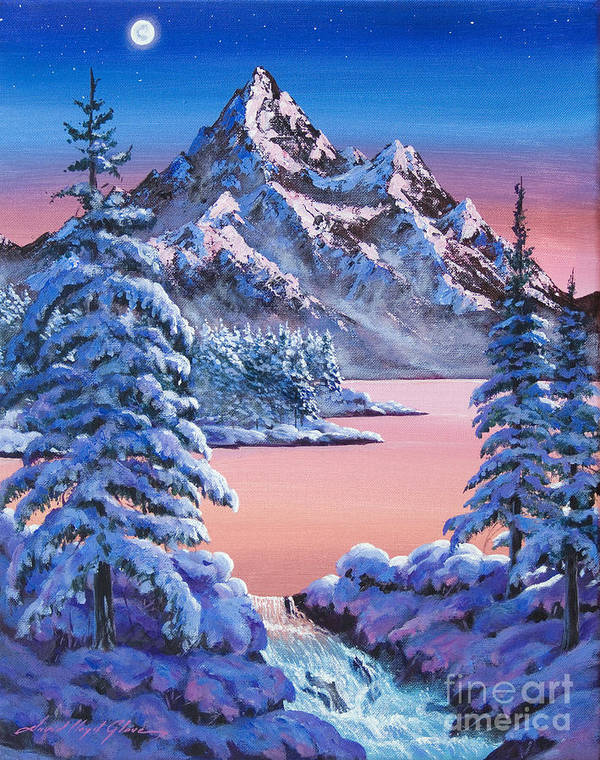 Landscape Poster featuring the painting Winter Moon by David Lloyd Glover