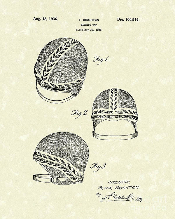 Brighten Poster featuring the drawing Bathing Cap 1936 Patent Art by Prior Art Design