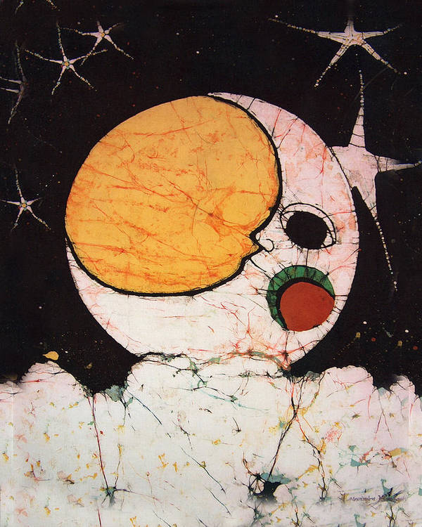 Children's Artwork Poster featuring the tapestry - textile Children's Moon by Alexandra Sanders