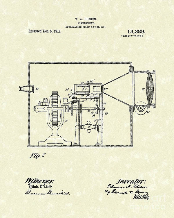 Edison Poster featuring the drawing Edison Kinetoscope 1911 II Patent Art by Prior Art Design